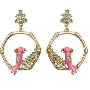 NEW 🐦 Pink Parrots in Gold Hoops Crystal Earrings